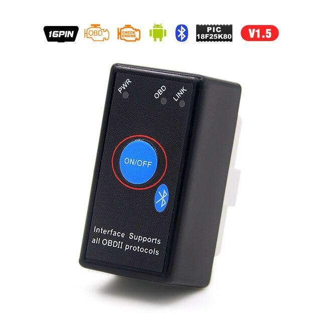 PIC18F25K80 Puce Super Mini OBD2 ELM327 V1.5 Bluetooth Outil De Diagnostic v 1.5 obd2elm 327 Fonctionne sur Android Couple PIC Code lecteur