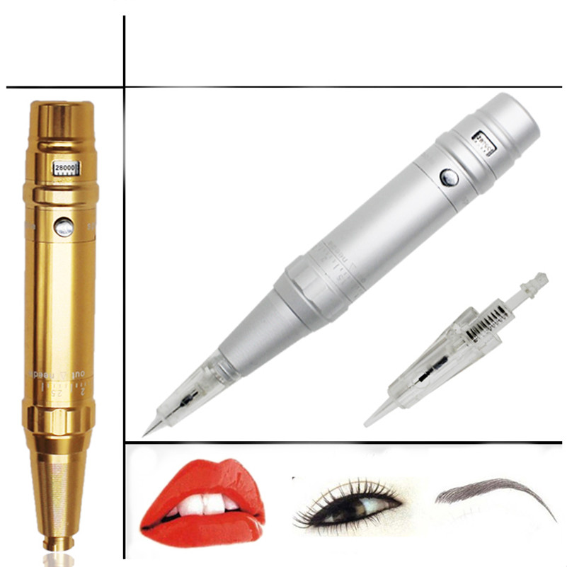 Permanent Makeup Pen 1Pcs Eyebrow Lip Tattoo Permanent Makeup Machine Pen For Shader Needle Tip Power Supply Set Kit