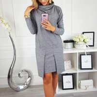 Vestido de inverno feminino gola alta manga longa fino solto vestido pullovers plus size streetwear vestido