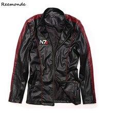 Cosplay Costume Mass-Effect Faux-Leather Hoodies Jacket Commander Black Shepard Stylish