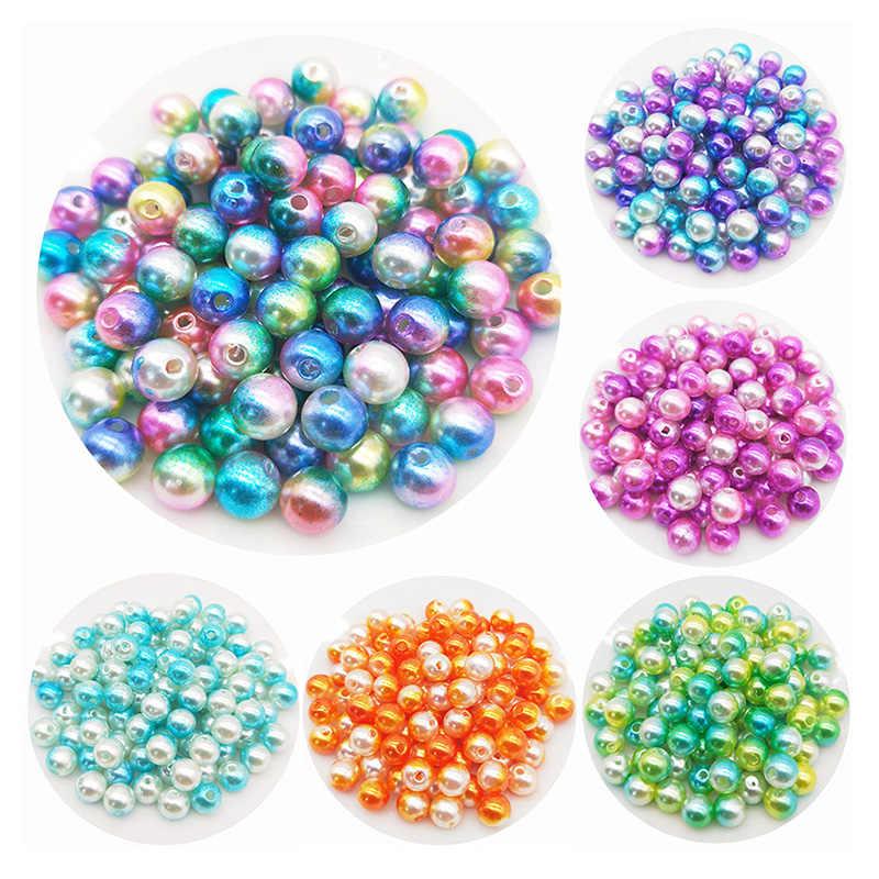 ลูกปัดสวย 50pcs 8mm Multicolor Straight hole อะคริลิคจำลองไข่มุกลูกปัด DIY สร้อยคอสร้อยข้อมือเครื่องประดับ