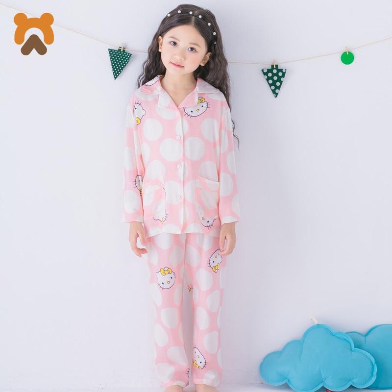купить Cute Girls Pajamas Sets Kids Long Sleeve Character Girl Sleepwear Modal Knitted Casual Children Sleepwear Pajamas For Girls Kids по цене 666.38 рублей