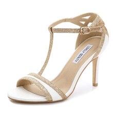 Été Sexy hauts talons bout ouvert blanc sandales à talons hauts Cogs femmes sandales 2015 noir t bracelet en or blanc sandales à talons