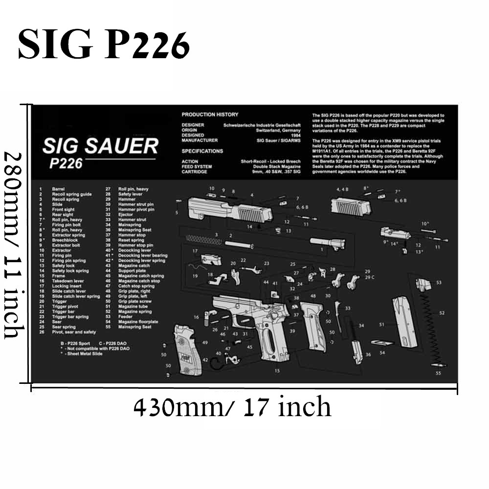 Большой чистящий коврик для ружья AR15 AK47 Glock 1911 SIG винтовка пистолет оружейный оружейник разборка ремонт набор инструментов для сборки скамьи колодки - Цвет: SIG P226