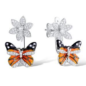 Image 2 - Santuzza シルバー蝶のイヤリング 925 純銀製のスタッドのイヤリングシルバー 925 キュービックジルコニア brincos ジュエリーエナメル