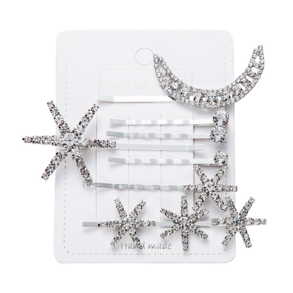 Hair-Clip Jewelry-Accessories Barrettes Snowflake Crystal Rhinestones Star Moon Trendy