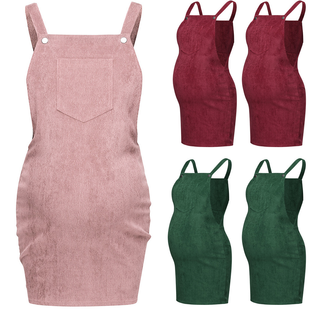 Maternity Corduroy Dresses Women Fashion Solid Sleeveless Bodycon Dress Ropa Premama Summer Pregnant Mothers Clothes Plus Size