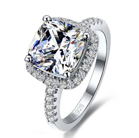 Femmes simples cristal 925 en argent Sterling anneaux pour mariage bijoux de fiançailles accessoire Fine strass Anillos cadeau