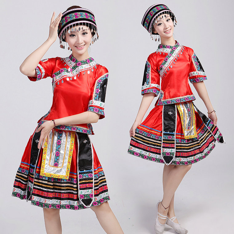Chinese Folk Dance Stage & Dance Wear Woman Chinese Folk Dance Costumes Hmong Clothes Ethnic Minority Miao Clothing Stage Performance Clothing