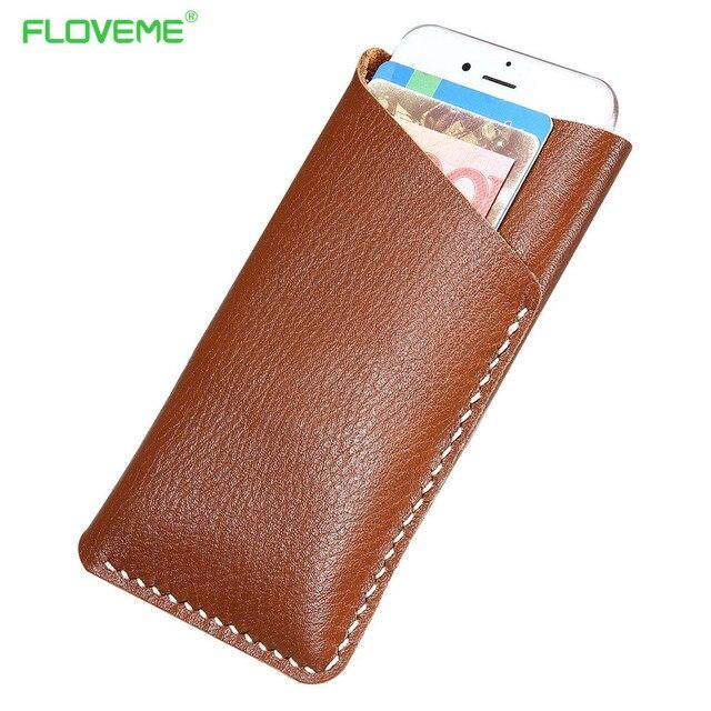 Floveme 5.5 ''general verdadeira carteira de couro caso de telefone bolsa para iphone 7 6 6 s plus para samsung s7 s6 edge j3 j5 j7 e5 a5 a7 E7
