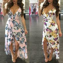 Hot Sale Fashion Boho Summer Sexy Women Printing Floral Sleeveless V neck Long Dress Sundress Beach Dresses Party
