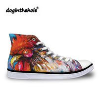 doginthehole Vulcanized Shoes Women Chicken Printing Classic Canvas Shoes for Teenager Girls High Top Flat Shoes Female Zapatos