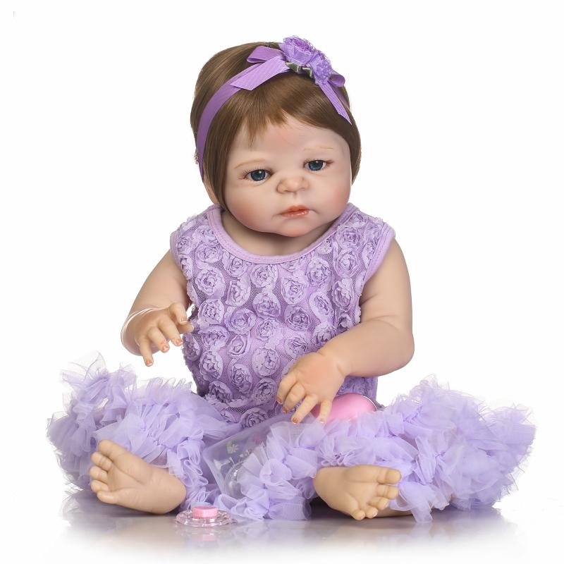 58CM Newborn Baby Girl Dolls with Princess Purple Dresses 23Inch Lifelike Reborn Baby Girls Bath  Toys Gifts58CM Newborn Baby Girl Dolls with Princess Purple Dresses 23Inch Lifelike Reborn Baby Girls Bath  Toys Gifts
