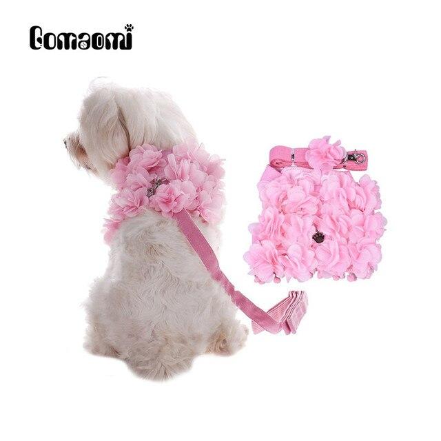 Gomaomi Princesse Floral Collier Pour Chien Chat et Chien Harnais +  Matching Plomb Laisse Chiot Vêtements 04ad39d335d2
