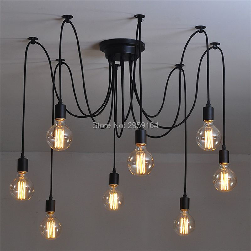 6/8/10 Heads E27 Sockets Nordic Industrial Edison Chandelier Vintage Pendant Lamp Loft Antique Adjustable DIY Home Lighting loft antique retro spider chandelier art black diy e27 vintage adjustable edison bulb pendant lamp haning fixture lighting