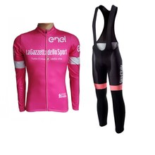Pro Team Winter Fleece Tour De Italië Roze Wielertrui Kits Mens Warmer Fiets Doek Mtb Ropa Ciclismo Fiets Maillot gel Pad(China)