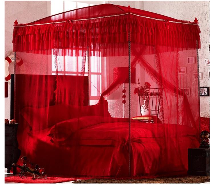 УНС высокого качества восьми металлический стальной каркас полюса 4 четыре угловых навесом москитная сетка кровати королевы Размер Кинг красный