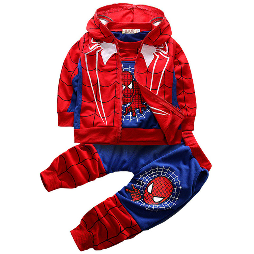 New children autumn winter 3 sets of Spider-Man clothing Tops + vest + pants cosplay costume new year costume