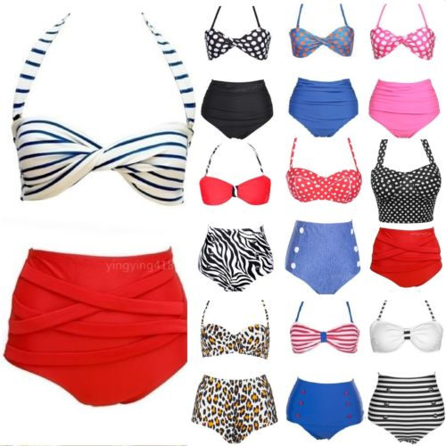 UK Beach Style Vintage High Waist Halterneck Swimwear womens bikinis set Swimsuit push bikini bathing suit Plus size S M L - Kimmy huang's store