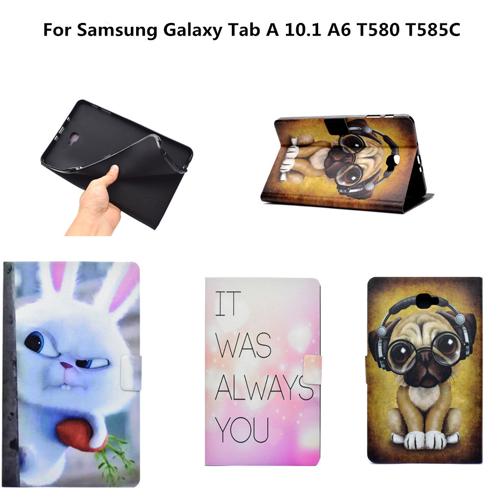 For Samsung Tab A6 10.1 inch Cartoon PU Leather Case For Samsung Galaxy Tab A6 A 6 2016 10.1 T585 T580 T585C Tablet Cover Cases tab a6 10 1 360 degree rotating folio pu leather case flip cover for samsung galaxy tab a 6 10 1 t580 t585 10 1 tablet case