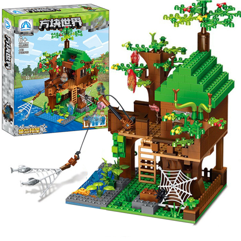 Compatible Legoed Toys Mine World Series Fish Island Minecraft Model Building Blocks Forest House Model For Children Blocks Aliexpress
