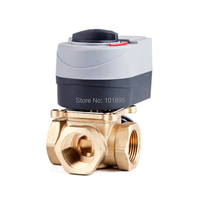 Brass Material 3/4 to 1 Size of 3 Way Floor Heating Water Electric Valve
