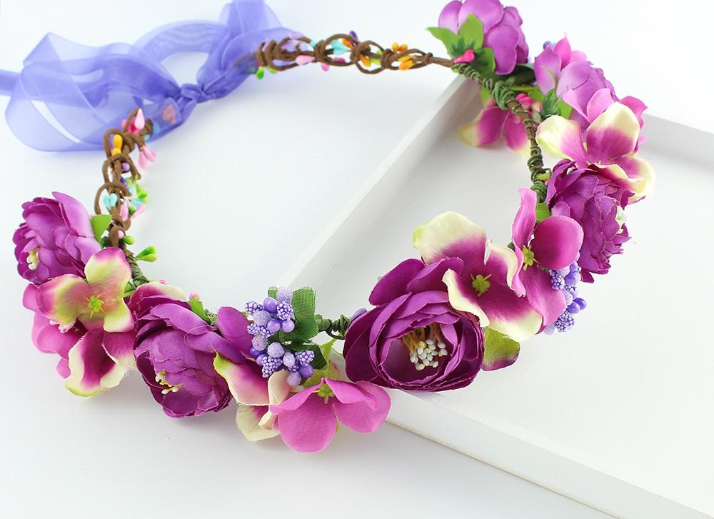 Hydrangea Flower Crown Rose Flower Headband Wreath Floral Garlands Ribbon Adjustable Flower Crown Wedding Hair Accessories Women Apparel Accessories