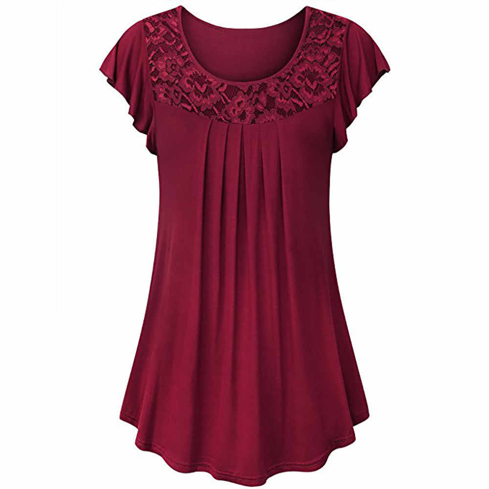 Jaycosin Vrouwen Dames Solid Blouse Kant Patchwork Ruches Tops Zomer Korte Mouw Losse O-hals Shirt