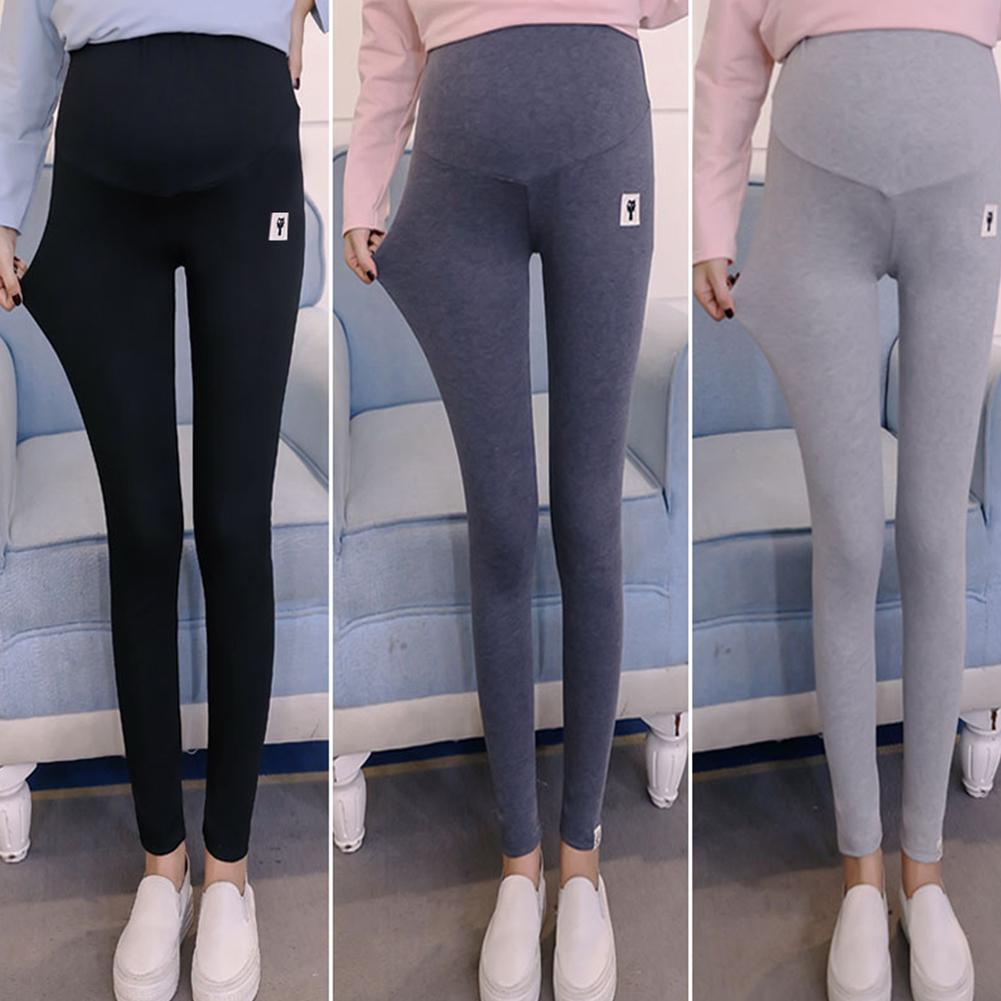 Solid Color Womens Clothes Abdomen Support Trousers Maternity Leggings For Pregnant Woman With Cute Kitten Pattern