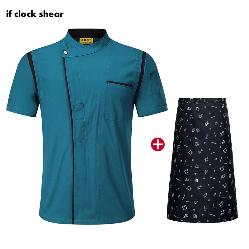 High Quality Short Sleeve Chef Uniform Unisex Restaurant Hotel Kitchen Workwear Cooking Shirt Breathable Chef Apron Jacket M-4XL