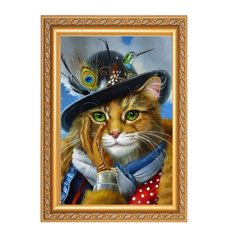 Needlework DMC Cross Stitch painting Counted embroidery Kits 14CT unprinted pattern golden noble cat handCrafts animal