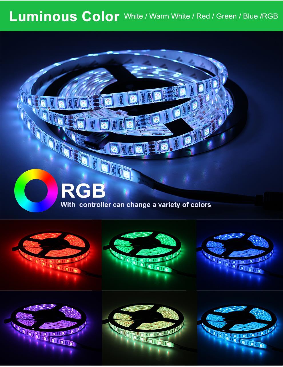 HTB1heiPPSzqK1RjSZFpq6ykSXXa7 RGB LED Strip Light 5050 2835 DC12V Neon Ribbon Waterproof Flexible LED Diode Tape 60LEDs/m 5M 12V LED Strip for Home Decoration