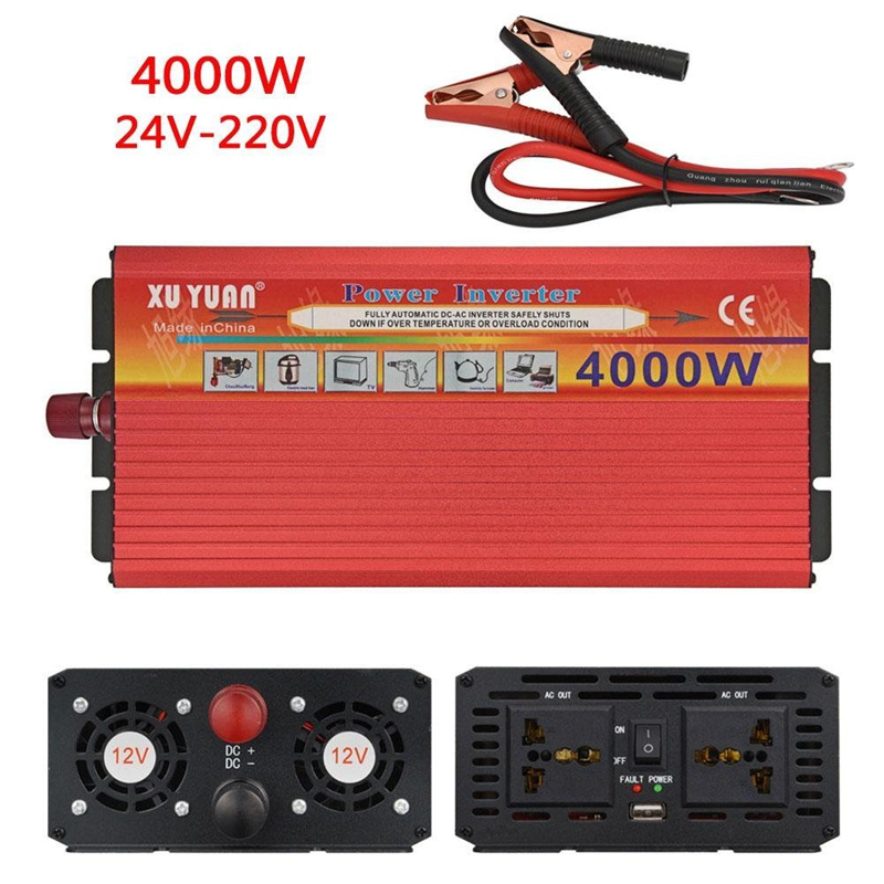 Car Inverter Power 4000W DC 12V To AC 220V Modefied 24V To 110V for Automobiles Charger 4000W Voltage Transformer Car Converter 4000w peak w 4 usb car power inverter 2000w dc 12v to ac 220v charger converter car led power inverter 4000w dc 12v to ac220v