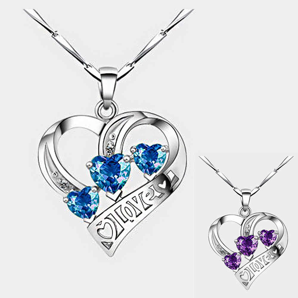 Simple Three Heart Pendant Necklace For Women Blue Exquisite crystal Necklaces & Pendants 925 Sterling Silver Jewelry love gift