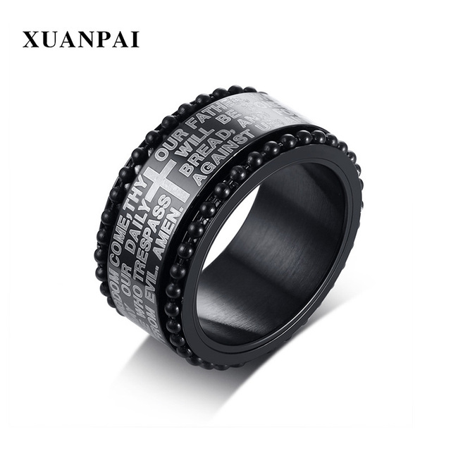 XUANPAI Cross Rings For Men Engraved Bible Article Stainless Steel Rotatable Black Color 11mm Wide Spinner Ring Prayer Gift