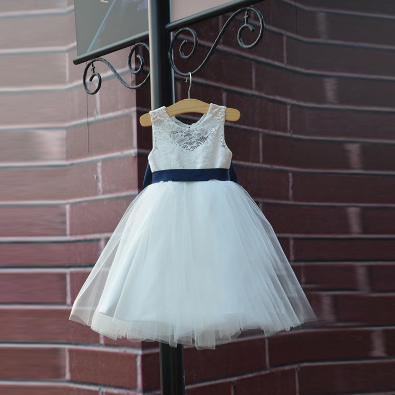 Hot Rustic Ivory Lace Navy Blue Sash Bow Flower Girl Dress White Country Toddler Wedding Baptism