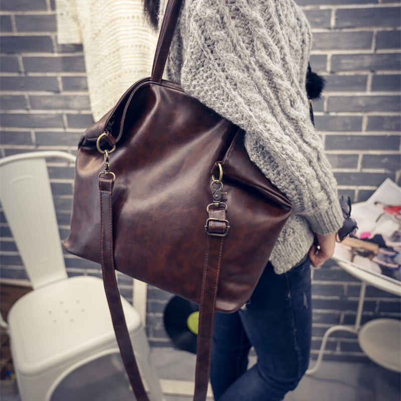 2016 Large and cheap women bag high quality PU leather female shoulder bag vintage brown solid handbag for shopping working high quality women fashion trend pu leather shopping handbag girls lesiure shoulder bag ladies simple bag female large tote dec1