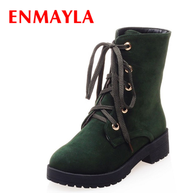 ENMAYLA New Lace-up Flats Ankle Boots for Women Winter Warm Nubuck Shoes Woman Casual Platform Martin Boots Black Green 2016 new winter ankle high heels nubuck leather women boots with fur fashion platform lace up martin boots for shoes woman