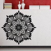 Mandalas dctop yoga sinal da flor preta adesivos de parede home decor art decalques da parede do vinil adesivo sala murais de parede papel de parede