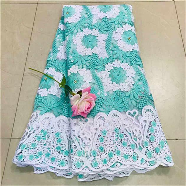 新デザインアフリカ刺繍レース生地ビッグ石シャンティーレース 2018 ファッションアフリカレースの生地高品質ドレス