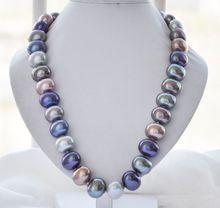 """手結び目チャーミング 16 × 19 ミリメートルホワイト色卵シェル真珠のネックレス 18 """"ファッションジュエリー"""