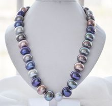 """Hand knotted charming 16x19mm white color egg shell pearl necklace 18"""" fashion jewelry"""