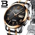 Relógios homens de luxo da marca suíça binger relógios de pulso luminoso bg-0383-14 mecânica relógios de pulso com pulseira de couro à prova d' água