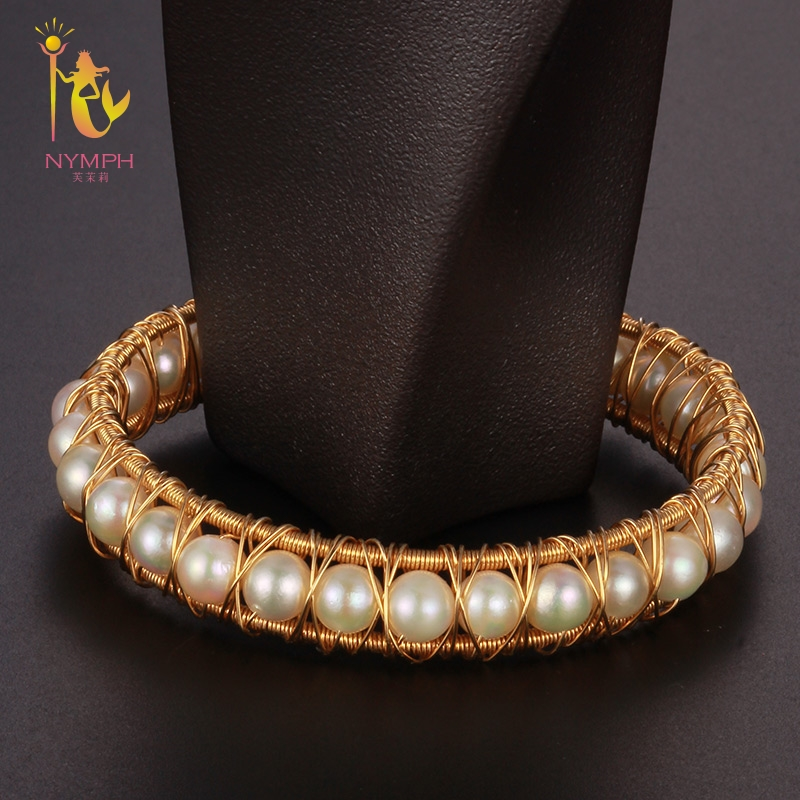 NYMPH Pearl Jewelry Near Round Pearl Bracelets Jewelry Natural Stone Charm Bracelets For Women Party Gift [S309] стоимость