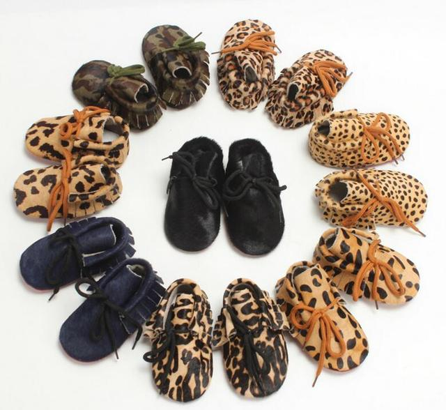 1 Pair Send  Hand-made Horse hair Leather Baby shoes Baby Moccasins Lace up First Walkers Bebe Soft bottom newbor