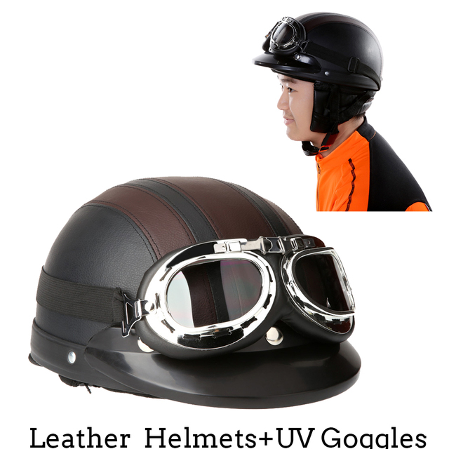 946012f4 Motorcycle Helmet Motorcycle Scooter Open Face Half Leather Helmet with Visor  UV Goggles Retro Vintage Style