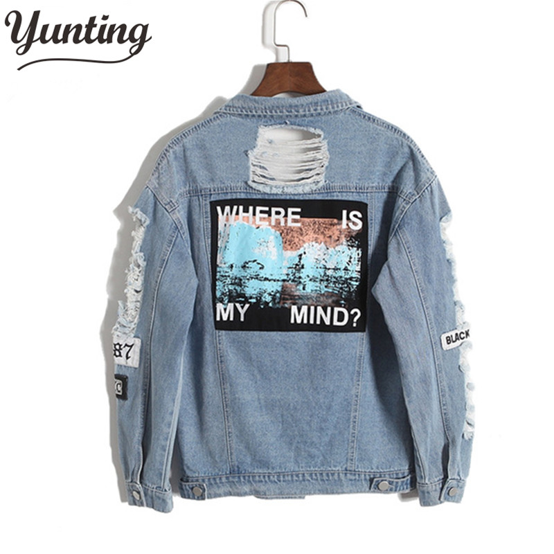 Vintage Fashion Air Distrressed Denim Jaket Bordir Surat Longgar Kembali Applique BF Denim Coat Lubang Pakaian Luar Wanita