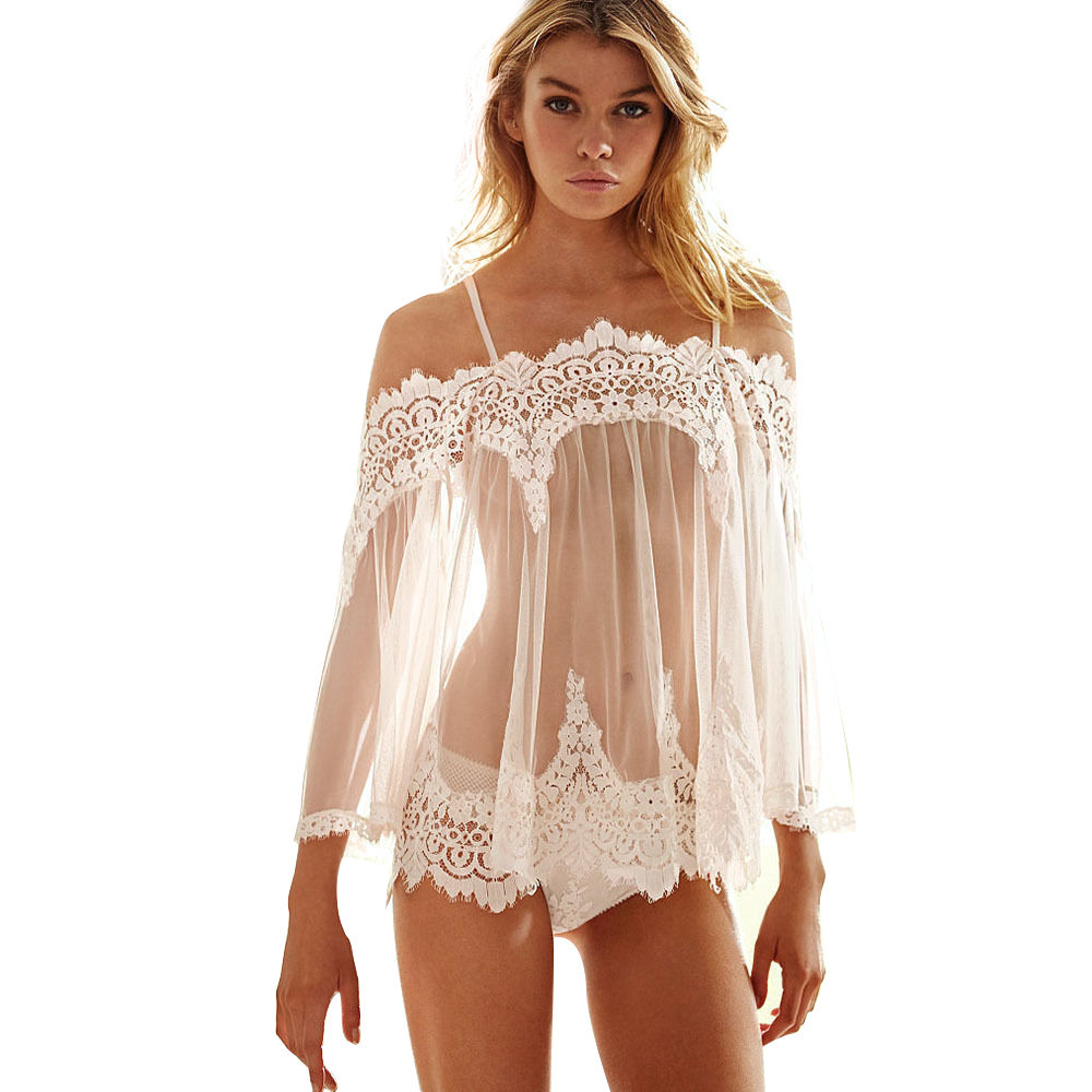 1 Set Transparent Women\'S Lingerie Sexy Babydoll Sleepwear Underwear Lace Dress Nightwear G-String