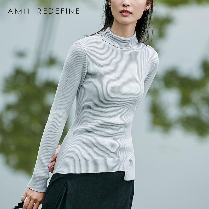 Amii Redefine Sweaters Women Autumn 2018 Casual 100 Cotton Turtleneck