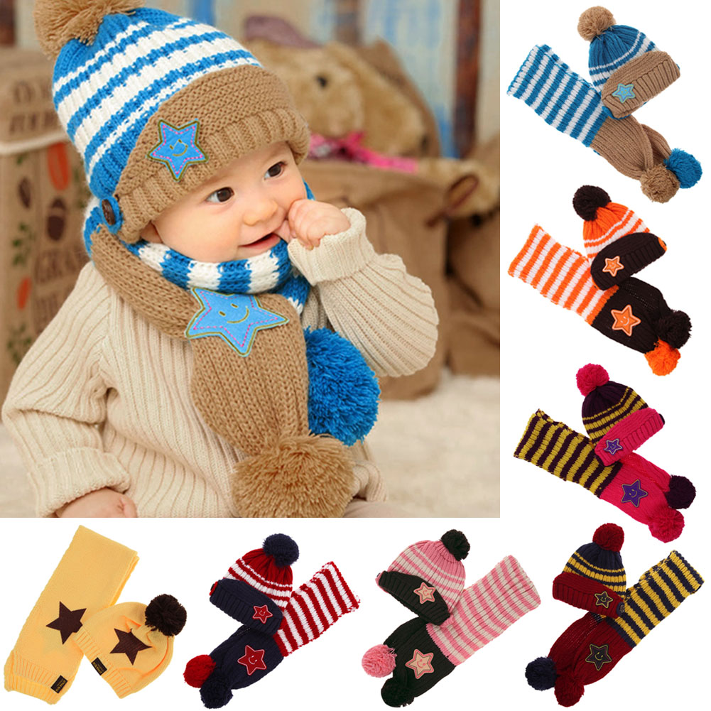 Winter Warm Baby Knitted Hat Scarf Set Fashion 5-Star Crochet Beanie Children Hat Scarf Set Unisex Toddler Hat Caps for 3-48M rainbow stripe knitted fold beanie hat